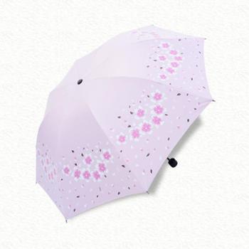 雨宝 新款女印花遮阳伞三折黑胶伞晴雨两用伞 折叠雨伞