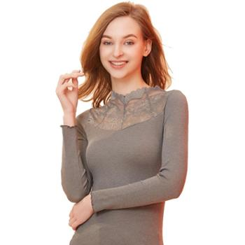 港莎自发热保暖内衣女秋冬季薄款性感蕾丝修身美体显瘦秋衣女上衣