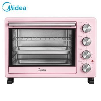 Midea/美的 家用多功能电烤箱上下独立控温 粉色PT25A0