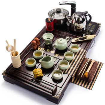 聚森 紫砂四合一实木电磁炉一体茶盘套装
