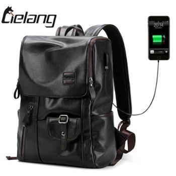 休闲双肩包男时尚潮流男士背包韩版书包旅行男包PU电脑包包软皮质
