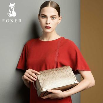 金狐狸女包链条包小包包2017新款牛皮小方包百搭时尚单肩包斜挎包