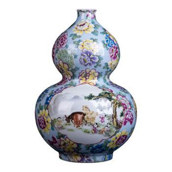 金和汇景·皇家窑火·仿清乾隆粉彩五福临门葫芦瓶