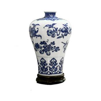 【金和汇景·皇家窑火】仿清雍正青花如意折枝瓜果纹梅瓶