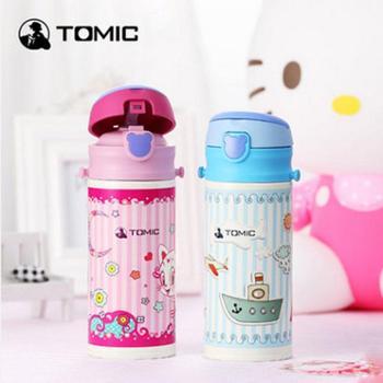 特美刻不锈钢儿童保温杯 宝宝便携带吸管水杯学生卡通杯子
