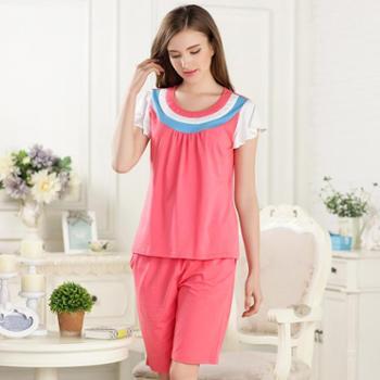新洁霓女款三色针织棉睡衣粉色可爱家居服套装
