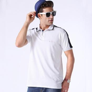 新洁霓针织棉POLO衫休闲纯色撞色拼接T恤可立领