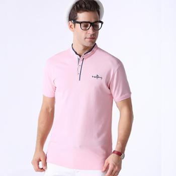 新洁霓男士针织棉纯色商务休闲立领T恤