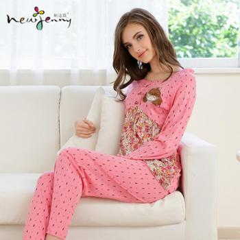 新洁霓睡衣女款春秋季棉质拼接梭织棉圆领波点公仔印花家居服