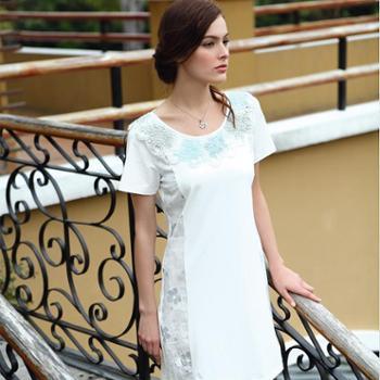 新洁霓夏季女款针织棉渐变绣花纯色圆领睡裙641304