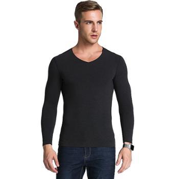 触棉男士保暖T恤冬季随心裁无痕磨绒发热V领男式打底衫B0831
