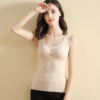 触棉冬季带胸垫免穿文胸一体式吊带背心德绒保暖内衣A0851