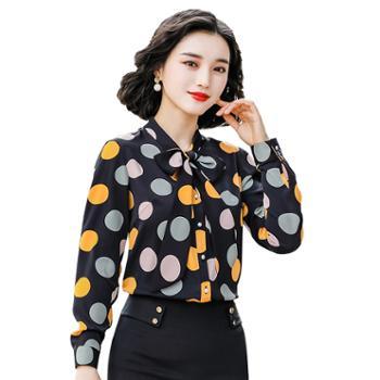 馨霓雅波点系带职业装衬衫FH1996
