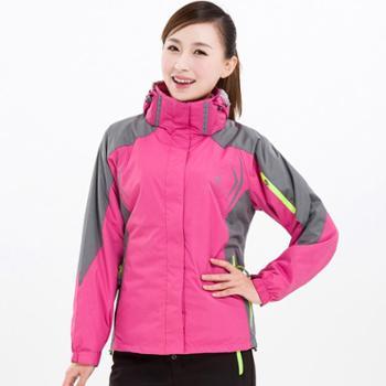 雷宾迪秋冬户外冲锋衣女三合一两件套大码防水透气保暖登山服