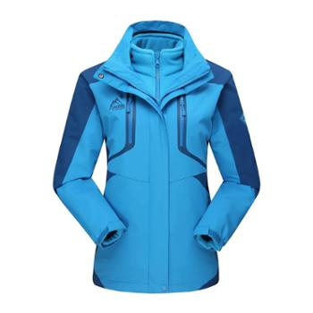 雷宾迪户外冲锋衣男女三合一两件套抓绒保暖冲锋衣冬160A020A