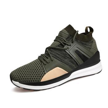 雷宾迪新款个性时尚跑步男鞋潮流运动休闲鞋透气飞织柔软缓震鞋7715LB