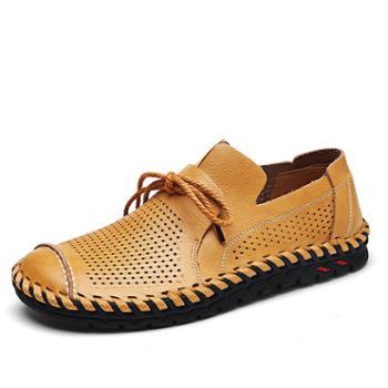 雷宾迪透气休闲皮鞋新款真皮镂空男士透气牛皮防滑洞洞男鞋9980