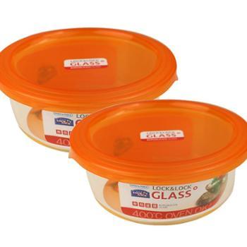 乐扣乐扣玻璃保鲜盒LLG827X圆形600ml两个装