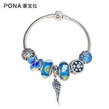 潘宝拉 天使之翼吊坠纯银手链 琉璃彩虹珠 珐琅珠 成品手链 新年礼物包邮