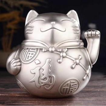 福恒金 足银茶叶罐 银摆件 家用储茶罐茶叶筒 招财猫款 猪福款【2款可选】 重约360g