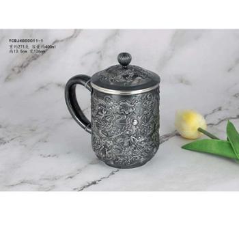 九龙银杯 纯银仿古茶杯银茶缸子 银水杯 办公杯