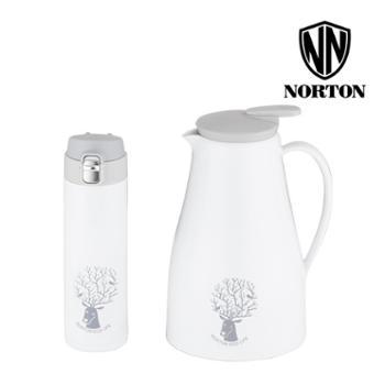 诺顿约克简约套装2000ML+500ML保温壶保温杯套装2件套304真空保温咖啡壶