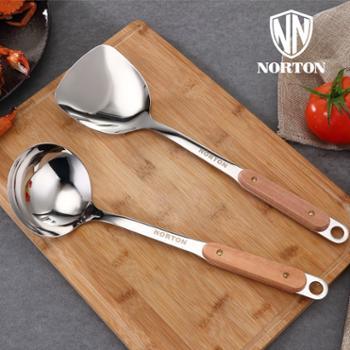木点家用炊具2件套5GMD002原木手柄不锈钢炊具家用炒铲+汤勺2件套