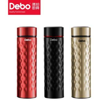 Debo德铂贝斯保温杯304不锈钢真空随行杯500ml黑色三色可选