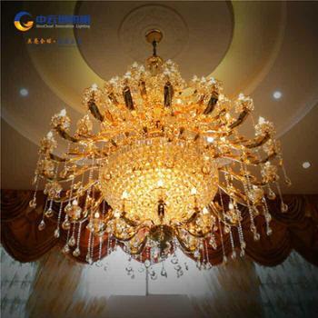 中云创照明欧式经典水晶吊坠蜡烛吊灯别墅会所酒店复式楼浪漫大气