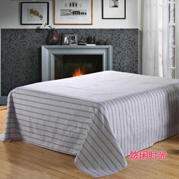 全棉斜纹床单 家纺床品 条纹床单 爱尚条纹风格230*245悠闲时光