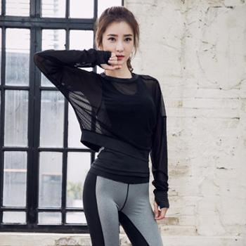 新款长袖瑜伽服运动套装女跑步服显瘦健身服三件套速干衣背心长裤