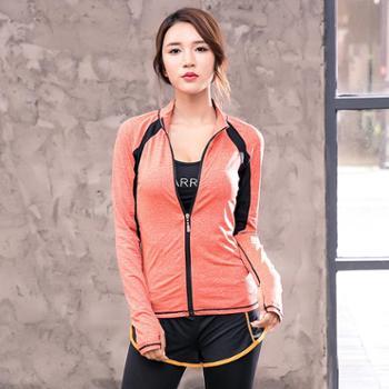 新款女士运动立领健身衣瑜伽服吸湿排汗速干运动拉链外套长袖C05
