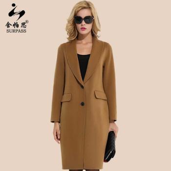 舍帕思2016新款双面呢大衣女加厚纯色中长款宽松大码长袖羊绒大衣