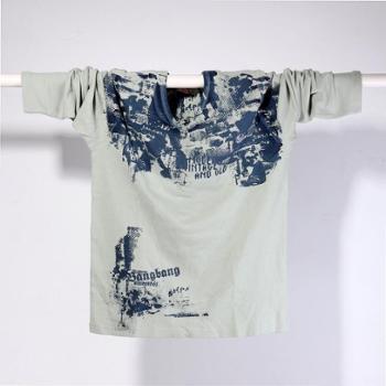 男士时尚个性长袖纯棉针织衫 面料是高档精梳棉经过特殊工艺编制的 帅气 经典