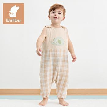 威尔贝鲁婴儿睡袋夏季儿童宝宝彩棉双层纱布背心分腿睡袋防踢被