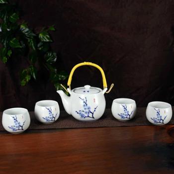 艺佳兴陶瓷茶具套装中式梅花釉上彩功夫茶具茶壶茶杯五件套包邮