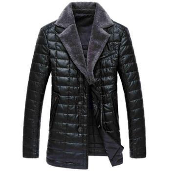 保暖外套时尚翻领中长款加厚羽绒服男羽绒服男士休闲