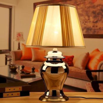 欧式奢华陶瓷镀银装饰台灯