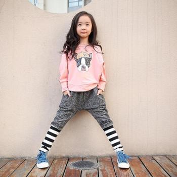 布里班尼女童运动套装韩版春秋潮纯棉套头长袖卫衣哈伦长裤中大童装两件套