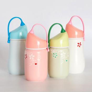手提陶瓷杯子大容量创意水杯隔热杯简约带盖便携旅行情侣杯保温杯