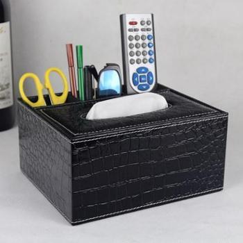 创意皮革多功能纸巾盒 多功能办公桌面遥控器收纳盒 餐巾抽纸盒欧式