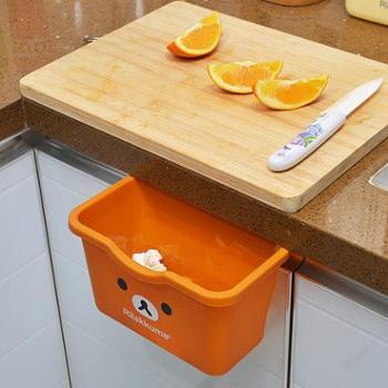 轻松熊多功能厨房垃圾储物盒 橱柜门挂式杂物桌面塑料大号垃圾桶