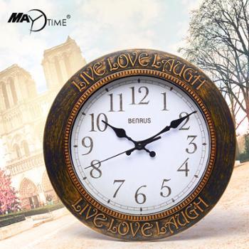 美时12寸欧式现代挂钟客厅复古美式石英钟表创意时尚圆形挂表