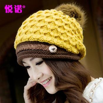 冬天女毛线帽韩版潮可爱时尚加厚加绒保暖护耳帽冬季女士针织帽子