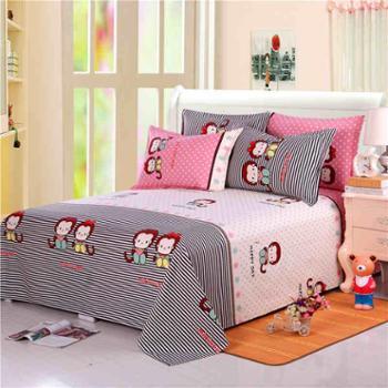 老粗布纯棉床单枕套三件套单双人1.5m1.8加厚 棉布床单不起球