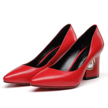 浓情漫宇尖头单鞋女粗跟浅口高跟鞋职业女鞋E081