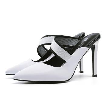 浓情漫宇时尚尖头后空细高跟外穿凉鞋凉拖鞋H131