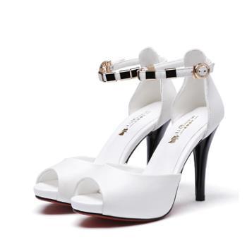 浓情漫宇凉鞋女性感鱼嘴高跟鞋一字扣绑带细跟女鞋C117