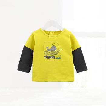 齐齐熊 新款婴儿衣服儿童纯棉长袖T恤宝宝卡通百搭上衣外出童装