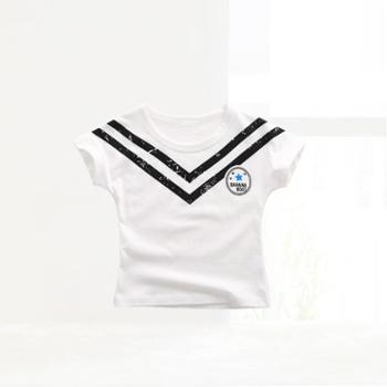 齐齐熊 2016夏季婴儿上衣海军风条纹T恤儿童夏装宝宝纯棉短袖t恤